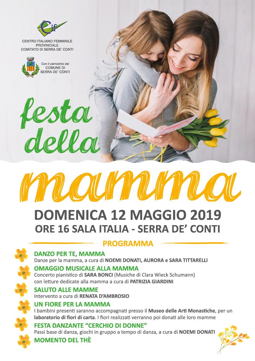 FESTA DELLA MAMMA DOMENICA 12 MAGGIO 2019 ORE 16 Sala Italia - Serra de' Conti